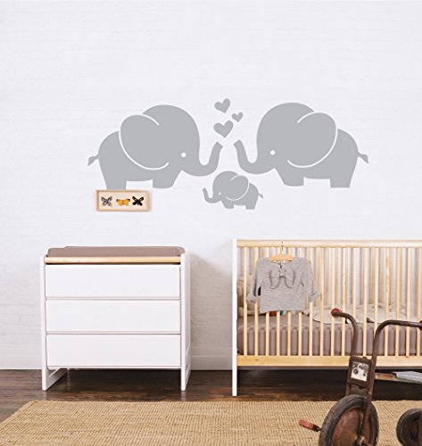 ANBER Cute Elephant Family With Hearts Wall Kids Room Wall Stickers, 30''W x11.8''H