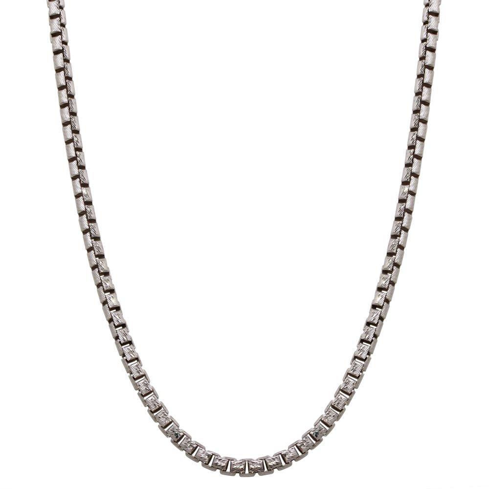 CloseoutWarehouse Rhodium Plated Sterling Silver Diamond Cut Slash Round Box Chains 3.9mm