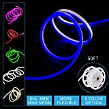 Led Mini Neon Lights, Shine Decor dimmable blue Rope Lights, 8MM Thickness, Update 2835 120Led/M, 110V, Included All Necessary Accessories, Flex Durable Super Bright For Outdoor Indoor Decor Or Comme