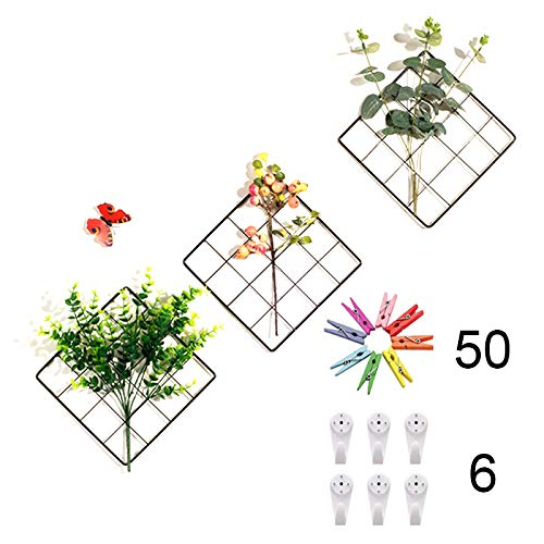ZONYEO Small Size Multifunction Photo Display Metal Mesh Wire Grid Panel with 20 Clip for Collage Artworks, Pictures Hanging, Decor Frame - 3 Set