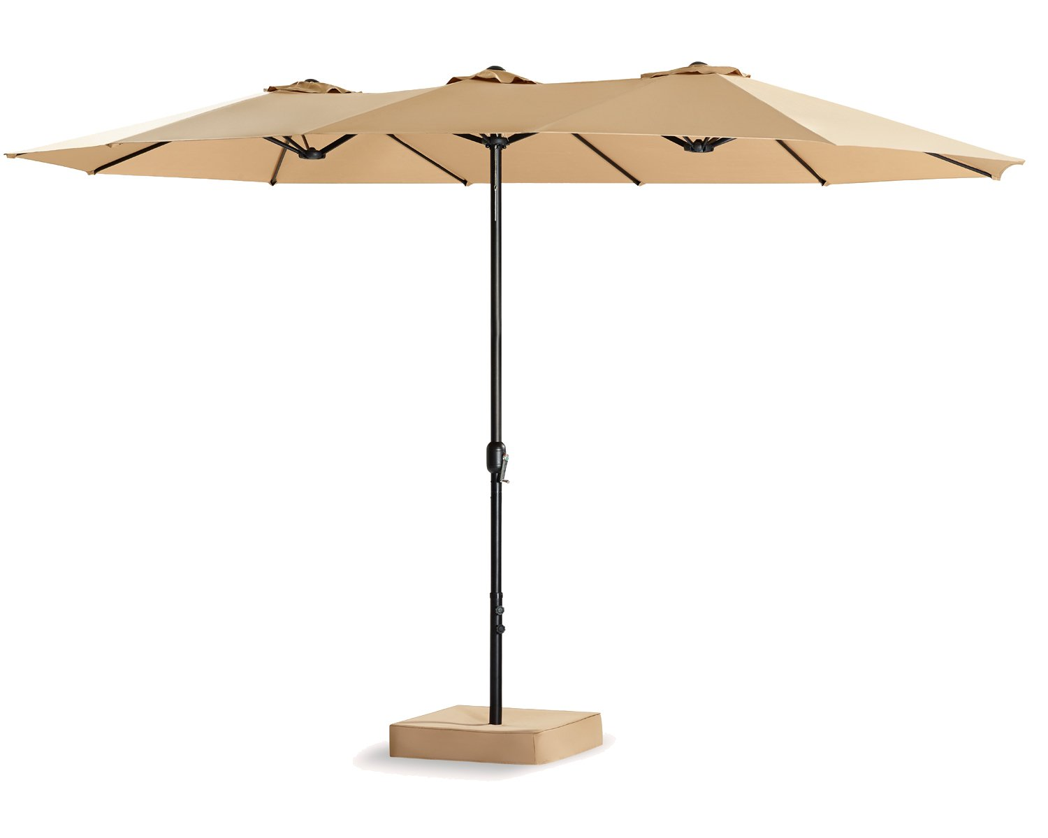 Patio Tree 15 Ft Double-Sided Outdoor Market Umbrella 12 Ribs, Crank System, 100% Polyester, Base Included (Beige)