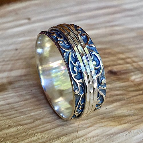 Sterling Silver Mens spinner rings size 6 to12
