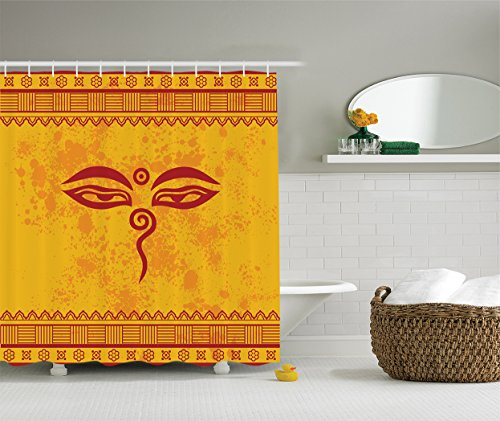 Ambesonne Ethnic Grunge Decor Collection, Traditional Eyes and Asian Tibetan Henna Design, Polyester Fabric Bathroom Shower Curtain Set with Hooks, Paprika Yellow Red
