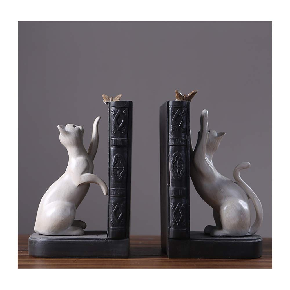 AWYDHC American Creative Bookends Resin Playful Cat Bookends Decorative Bookshelves Bookends Home Desktop Decor for Office Library Home (Set of 2 Pieces) by AWYDHC
