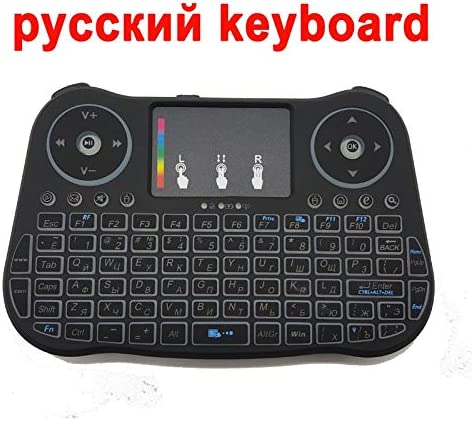 Calvas MINI Keyboard MT08 2.4GHz Wireless 7 color backlit English Russian Spanish Remote Control Touchpad For Android TV Box computer Color: EN MT08 3AAA