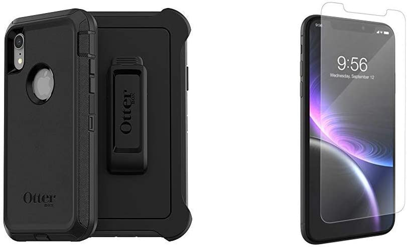 OtterBox Defender Series Screenless Edition Case for iPhone Xr - Black & ZAGG InvisibleShield Glass+ Screen Protector for The Apple iPhone 11 and iPhone Xr