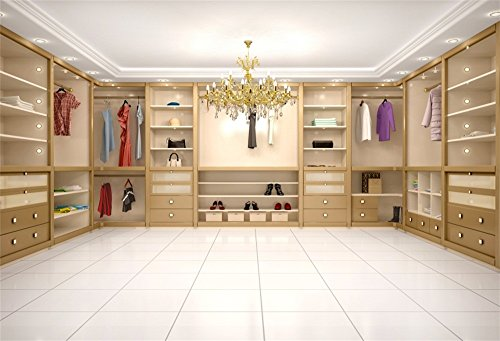 LFEEY 7x5ft Modern Luxury Wardrobe Photo Backdrop 3D Dressing Room Closet Clothes Rack Crystal Chandelier Cabinet Background Photography Portriat Events Party Photo Studio Props - Wardrobe Photo