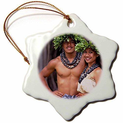 3dRose orn_89706_1 Polynesian Couple Hula Hawaii (Mr)-Us12 Dpb1308-Douglas Peebles-Snowflake Ornament, 3-Inch, Porcelain by 3dRose