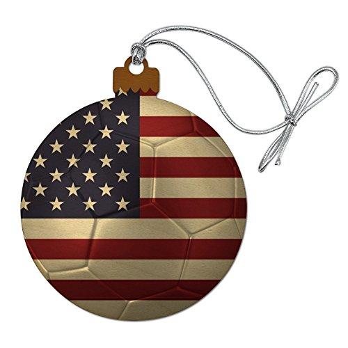 Graphics and More United States of America American USA Flag Soccer Ball Futbol Football Wood Christmas Tree Holiday Ornament