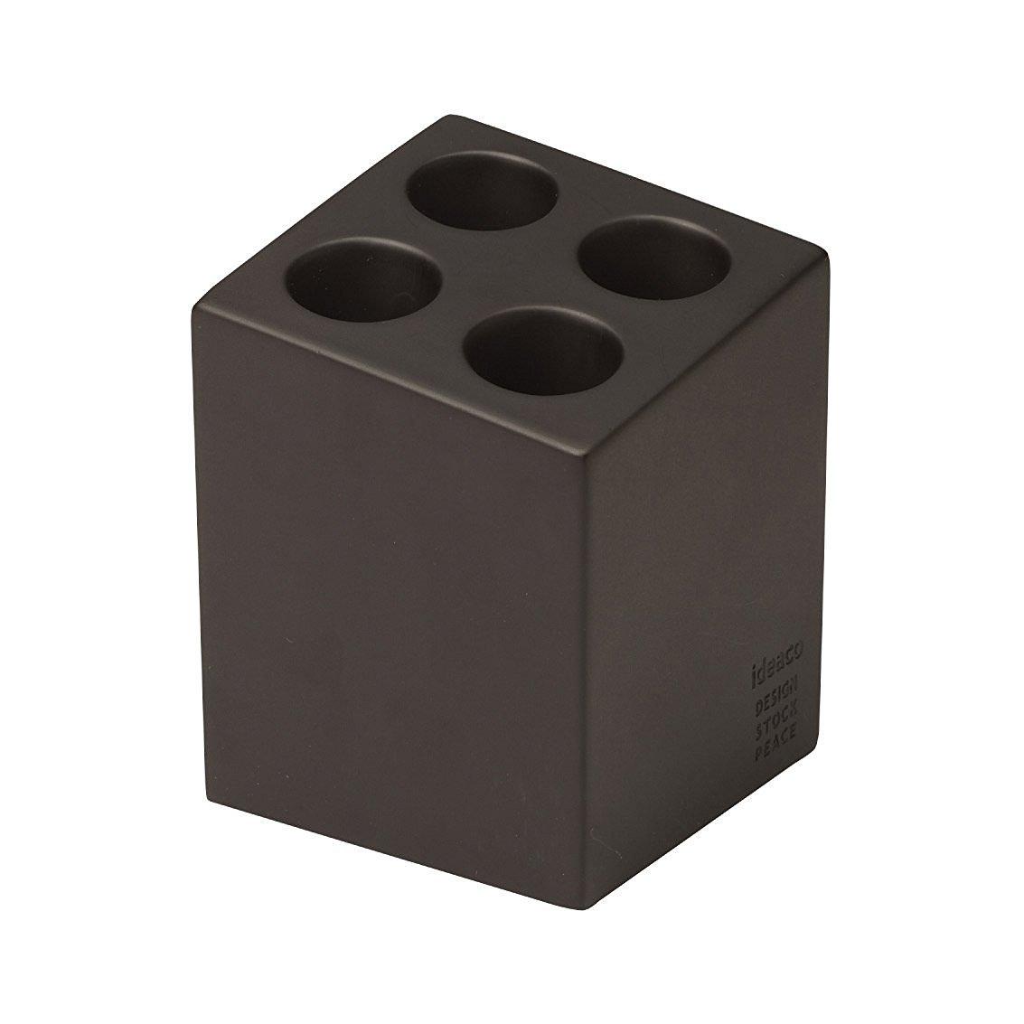 Ideaco Japan Compact Minimalist Design Umbrella Stand Mini Cube 4 Slot MATTE BROWN