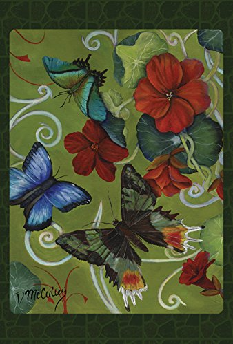 Toland Home Garden Butterflies and Flowers 12.5 x 18 Inch Decorative Spring Summer Floral Butterfly Garden Flag (Gossamer Streamer)