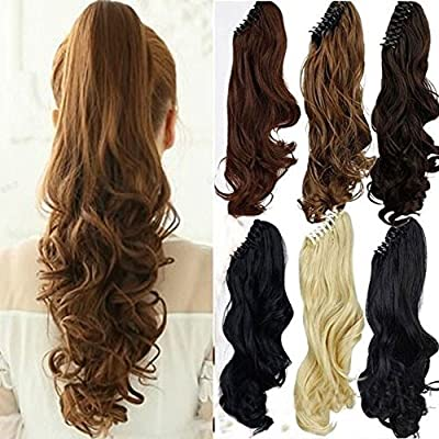 "Haironline Ponytail Extensions 18""21"" One Piece Claw Jaw Pony Tail Clip in Hair Extensions Curly Long Straight Soft Silky"