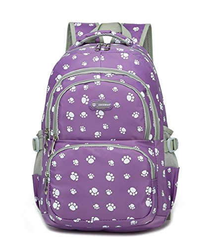 Fanci Lovely Dog Paw Prints Elementary Middle School Backpack Bookbag for Teen Girls Waterproof High School Bag ()