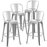 Cheap Harper & Bright Designs by Merax 30″ High Metal Bar Stool with Bucket Back Bistro Counter Stools Indoor-Outdoor Use (Set of 4), Silver