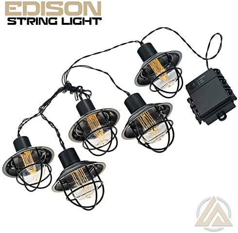LitezAll LED Edison Bulb 5pc Metal String Lights – Decorative Caf Patio Outdoor Lights – 3 AA Alkaline Batteries Included – Weatherproof UL Listed Heavy-Duty