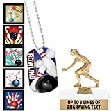 Crown Awards Bowling Goodie Bags, Bowling Favors for Bowling Themed Party Supplies Comes with Personalized Female Lawn Bowling Trophy, Bowling Dog Tag and Bowling Stickers 50 Pack