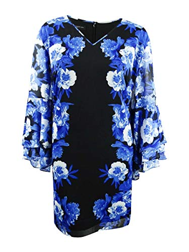 INC Womens Plus Floral Print Tiered-Sleeve Cocktail Dress Blue 3X