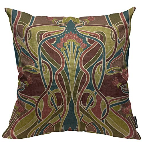 Mugod Throw Pillow Cover Floral Vintage Nouveau Design Arts Home Decorative Square Pillow Case for Men Women Boy Gilrs Bedroom Livingroom Cushion Cover 18x18 Inch, Multicolor Pillowcase