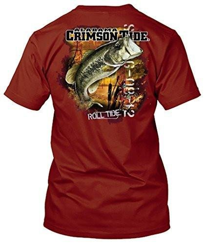 NCAA - Bass Fishing T Shirt - Multiple Universities Available - up to 2X and 3X - Officially Licensed Apparel (Alabama Crimson Tide, ()