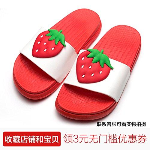 FankouEl precioso fruto zapatillas de baño femenino Verano suave antideslizante parejas inferior a casa de una familia de tres interiores cool arrastre y ,40, rojo fresa