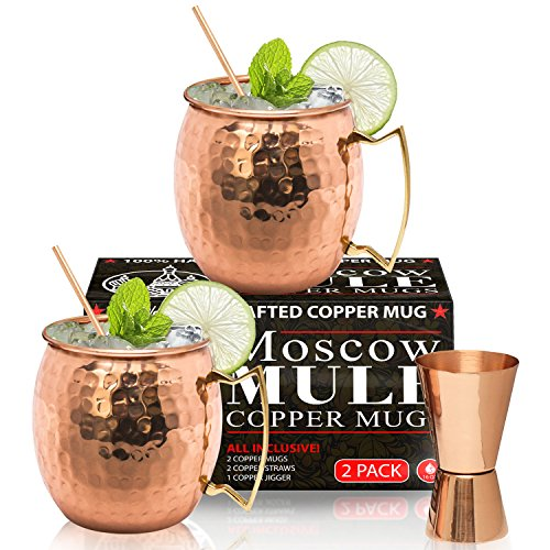 Moscow Mule Copper Mugs - Set of 2-100% HANDCRAFTED – Food Safe Pure Solid Copper Mugs - 16 oz Gift Set - BONUS Highest Quality Cocktail Copper Straws & Jigger - Christmas & New Year Gift by Benicci