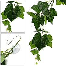 uxcell® 2m Length Green Plastic Vine Leaves Terrarium Plant for Reptiles and Amphibians
