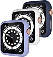 Henva [3 Pack] Protector Case Design for Apple Watch 38mm 40mm 42mm 44mm SE with HD Tempered Glass, PC Full Coverage...