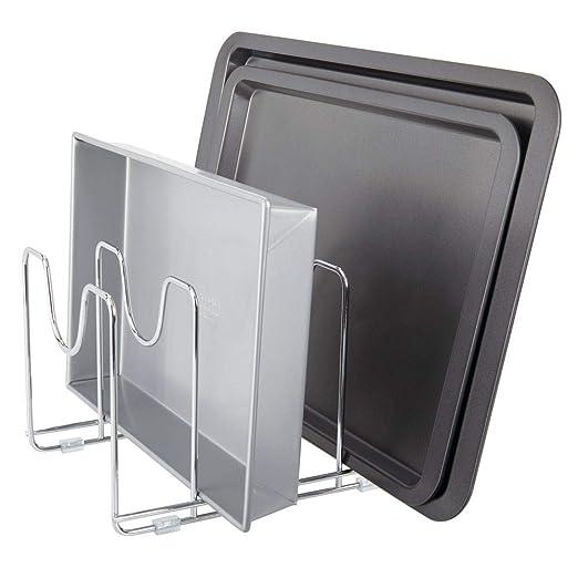 MetroDecor mDesign Soporte para sartenes, ollas y Tapas - Organizador de tapaderas Compacto de Metal para armarios de Cocina - Accesorios de Cocina para ...