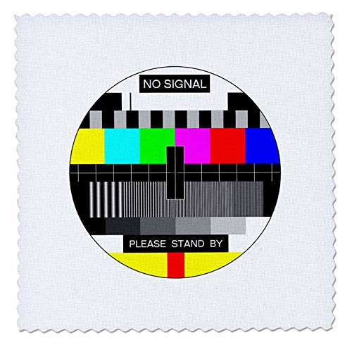 3dRose Carsten Reisinger - Illustrations - No Signal TV Test Screen NTSC PAL Please Stand by Analog - 8x8 inch Quilt Square (qs_294840_3) -