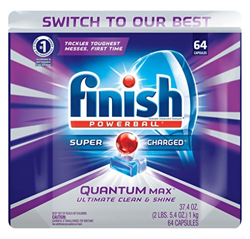 Click for Finish Quantum Max Shine & Protect Dishwasher Detergent Tablets, Fresh Scent, 64 ct