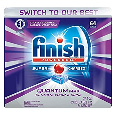 Finish Quantum Max Powerball, 64 Tabs, Dishwasher Detergent Tablets (Packaging May Vary)
