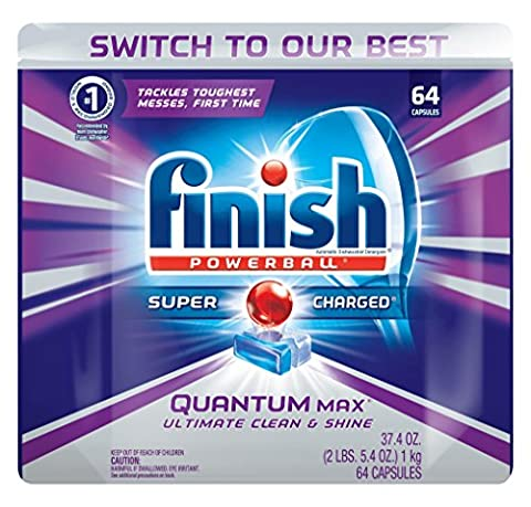 Finish Quantum Max Shine & Protect Dishwasher Detergent Tablets, Fresh Scent, 64 ct (Dishwashers)