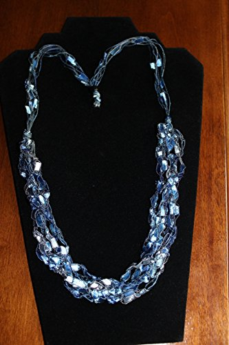 ADJUSTABLE Crochet Yarn NECKLACE Scarf Ladder Trellis Ribbon Blue Silver