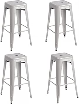 Amazon Com Fdw Metal Stools Bar Stools 30 Inch Height Stackable Barstools Indoor Outdoor Dining Backless Kitchen Bar Stools Set Of 4 Furniture Decor