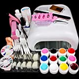AENMIL 25pcs Set Pro Nail Art Decorations Tools Nail Art 36W UV Curing Lamp Dryer Painting Brush Pen 3G Nail Glue 12 Color UV Gel Practice Finger Nail Separator Buffer Block Clean Brush Tool Kit