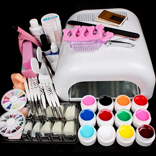 Reg Color Acrylic - Happy Hours Hot 25 in 1 Combo DIY Nail Art Set Professional Full 36W White Cure Lamp Dryer & 12 Color UV Gel Nail Art Tools Sets Kits For Nail Care Nail Art Fits for Home Or Salon Use