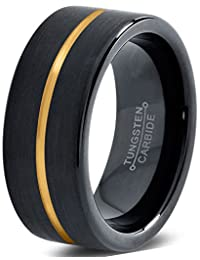 Tungsten Wedding Band Ring 8mm for Men Women Black & 18K Yellow Gold Center Line Pipe Cut Brushed Polished Lifetime Guarantee