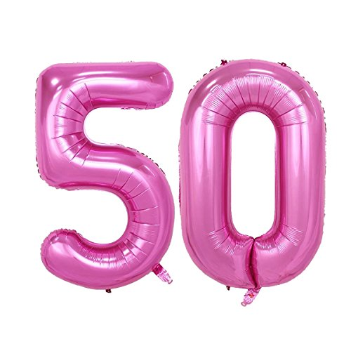 40inch Pink Number 50 Jumbo foil Helium Balloons for Bithday Party Festival Decorations Photo Props (Pink -