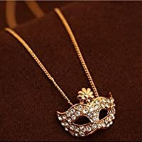 Honeshop Lady Full Rhinestone Crystal Sweater Chain Fox Masquerade Mask Pendant Necklace gold
