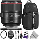 Canon EF 85mm f/1.4L IS USM Lens w/ Advanced Photo and Travel Bundle - Includes: Altura Photo Sling Backpack, UV Protector, Camera Cleaning Set
