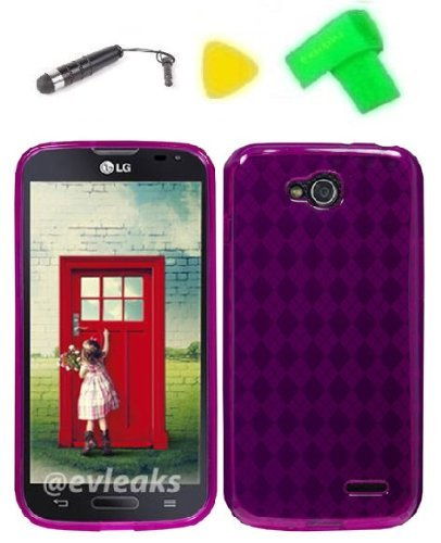 - TPU Gel Skin Phone Case Cover Cell Phone Accessory + Extreme Band + Stylus Pen + Yellow Pry Tool for LG Optimus L90 (TPU Pink)