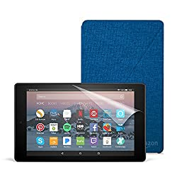 All-New Fire HD 8 Essentials Bundle with Fire HD 8 Tablet (16 GB, Black), Amazon Cover (Marine Blue) and Screen Protector (Clear)