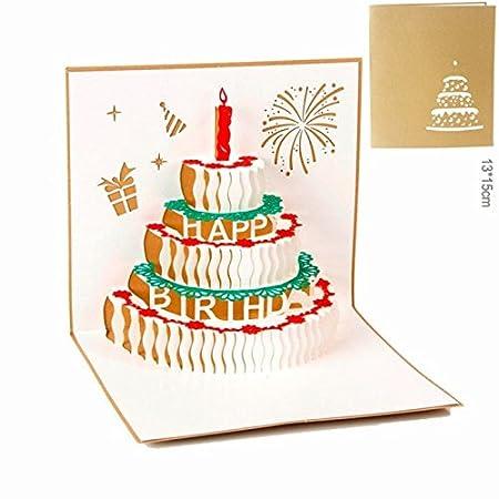 atommy 3d Cake Forma Tarjeta de felicitación bendiga Tarjeta Postal tarjeta de cumpleaños escribe tu mejor deseos de cumpleaños para amigo de la ...