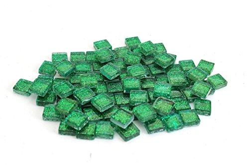 Milltown Merchants 4/10 Inch (10mm) Glitter Mosaic Tile, 1 Pound (16 oz. Bag) (1 Pound, Green)