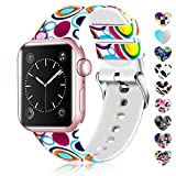 Lwsengme Compatible with Apple Watch Band 38mm 40mm 42mm 44mm, Soft Silicone Replacment Sport Bands Compatible with iWatch Series 5,Series 4,Series 3,Series 2,Series 1 (Flower-5, 38MM/40MM)