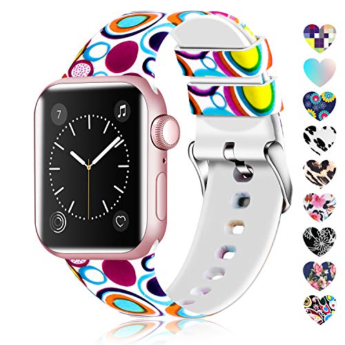 Lwsengme Compatible with Apple Watch Band 38mm 40mm 42mm 44mm, Soft Silicone Replacment Sport Bands Compatible with iWatch Series 5,Series 4,Series 3,Series 2,Series 1 (Flower-5, 38MM/40MM) (Apple Water Lilly)
