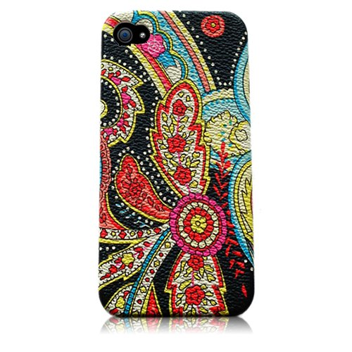 Xtra-Funky Case Compatible with Apple iPhone 5 / 5S, Paisley Style Multicoloured Floral Flowery Print Rubbery Textured Hard Plastic Designs - FB