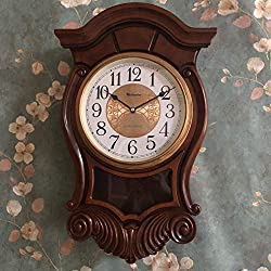 19.8 Pendulum Wall Clock, Silent Decorative Ash Wood Clock with Swinging Pendulum, Chime Sound Battery Operated, Real Wooden Design For Living Room Kitchen & Home Décor Gift, 19.8 x 12.2,G30336
