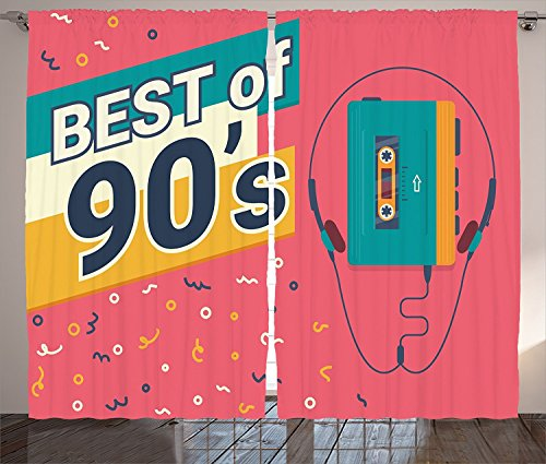 90s Decorations Collection 90s Retro Style Illustration of Stereo Compact Cassette Player Outdated Electronics Image Living Room Bedroom Curtain 2 Panels Set Salmon 120x66