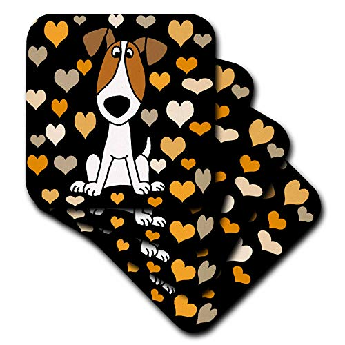 3dRose All Smiles Art - Pets - Funny Cute Jack Russell terrier and Heart Love Pattern Abstract - set of 8 Coasters - Soft (cst_295213_2)